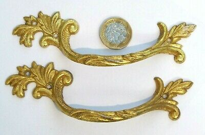 Pair Antique/Vintage Brassed Chest/Drawer Pull French Rococo Fancy Handle Ref90
