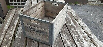 Vintage Bowman Milk Crate Wooden Metal 1956 Wood Log Box Country Farm House Usa