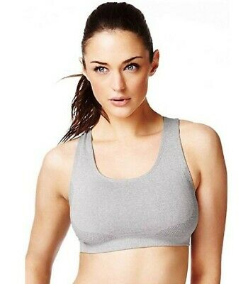 New Sports Bra Crop Vest Top Marks And Spencer Medium Impact Grey S8-10 M12-14