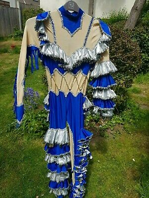 Silver And Blue Heavily Embellished Stretch  Cat Suit Ideal For Panto/Musicals