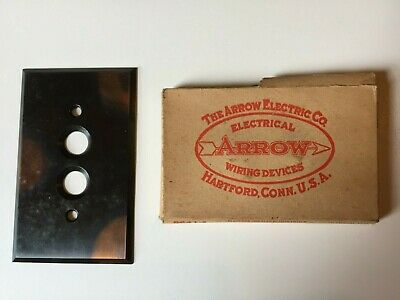 Antique Brass Push Button Light Switch Plate with original packaging