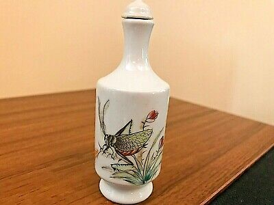 """Vintage Hand Painted Chinese Snuff Bottle With Inscription & Signature (3.5"""")"""