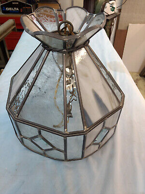 Vintage Tiffany Style Chandelier Leaded Glass Ceiling Hanging Light Pendant