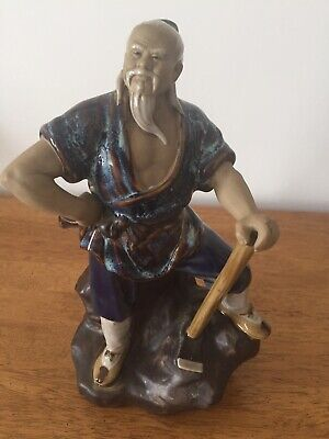 Oriental Chinese Mudman Clay Pottery Figure Statue with axe. Perfect Condition.