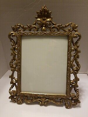 """Vintage Solid Brass Victorian Style Easle Back Picture Frame (8"""" X 10"""")"""