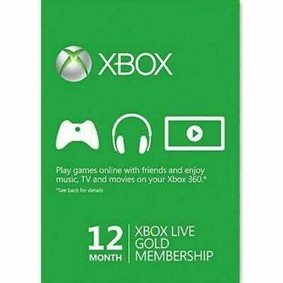12 Month / 1 Year XBOX Live Gold Membership Code XBOX ONE X/ 360 - VPN (INSTANT)