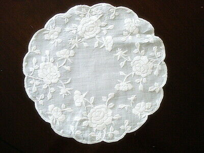 "Antique DOILY~Silk Society~White on White Rose Embroidery 10"" Round"
