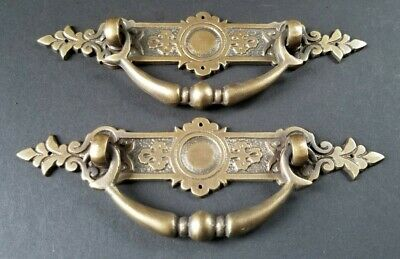 "2 Vtg Antique Style Ornate Victorian Brass Drawer Handles Pulls 5-1/4""wide #H44"