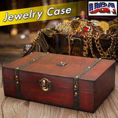 US Large Wooden Bracelet Earrings Necklace Storage Jewelry Box Case Organizer