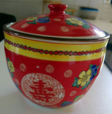 Antique Oriental Famille Rose Lidded Bowl