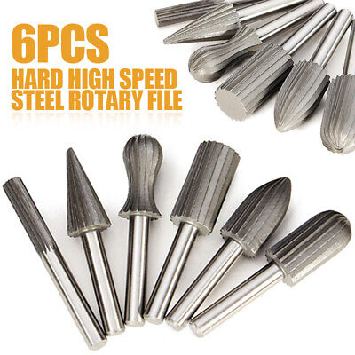6X High Speed Steel Carbide Burrs For Rotary Drill Bit Die Grinder 6mm Shank UK