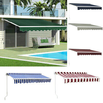 Patio Awning Retractable Manual Garden Sun Shade Canopy Deck Sunshade Shelter UK