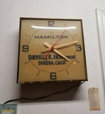 1950's VINTAGE HAMILTON WATCH CO. ELECTRIC STORE DISPLAY WALL CLOCK - LIGHTED