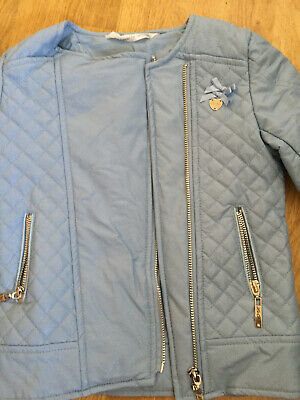 Le Chic Powder Blue Leather Look Girls Jacket Age 116