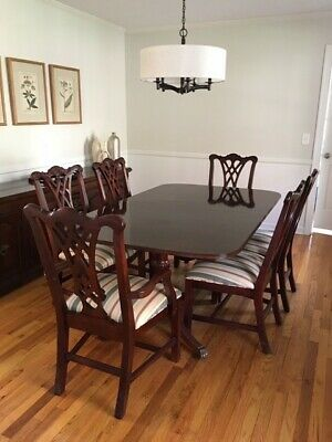 Thomasville Figural Duncan Phyfe Double Pedestal Table With 2 Leaves + 6 chairs.