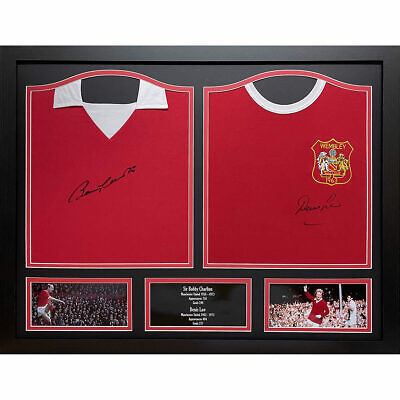 Framed Bobby Charlton & Dennis Law Signed 1970 Manchester United Football Shirts