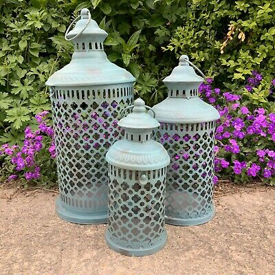Antique Chic Style Metal Ornate French Lantern Teal Rustic Shabby Moroccan