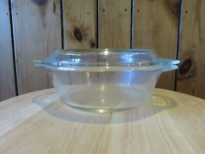 Round, Pyrex Casserole Dish with Lid, clear glass about half a litre capacity