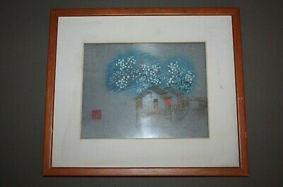 Vintage Framed Signed Chinese Silk Embroidery House Cherry Blossom & Sky Design