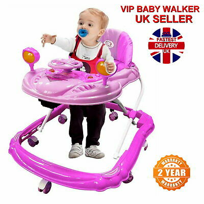 PINK Baby Walker First Steps Push Along Bouncer Activity Music Ride Car Melody