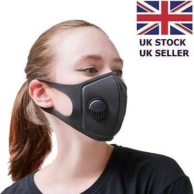 Black Face Mask Mouth Cover Airflow Filter Washable Reusable Dust Protection UK