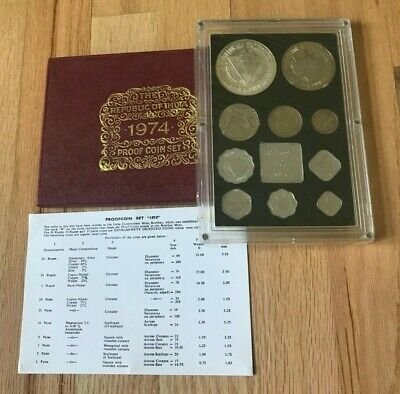 1974 India Coin Proof Set - With Silver - In Original Box