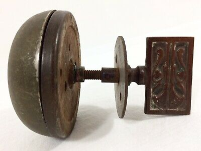 Vtg Antique Crank Door Bell Turn Key Brass Metal ART NOUVEAU Knob Works USA