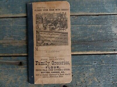 old antique 19th century grocery store family groceries ledger food order book