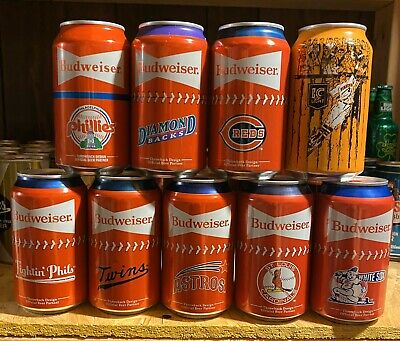 7 Different 2020 MLB Budweiser Beer Cans + 1 2019 And 1 IC Light Pirates Can