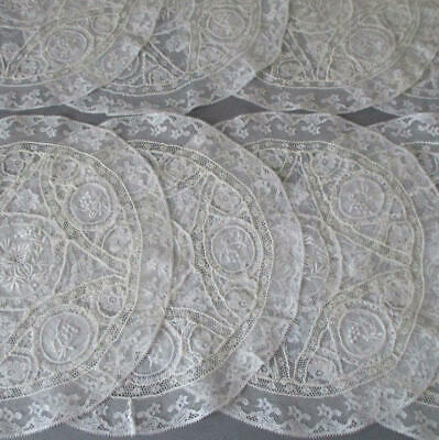 "Set of 8 Antique French NORMANDY LACE Round 9.5"" Doilies * Embroidered FLOWERS"