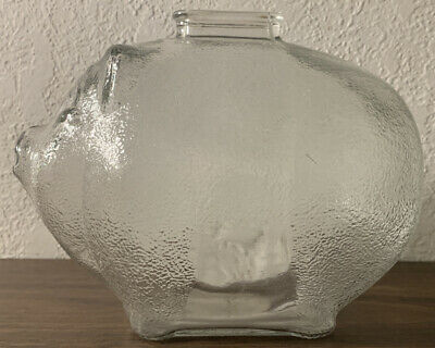 "Anchor Hocking Textured Glass PIGGY BANK Clear Coin Slot 6"" Long"
