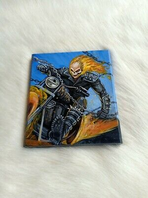 Hand Painted Ghost Rider On Natural Marble Rock Stone Art Deco Paperweight D190