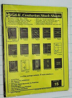 G&K Centurion Stock Sheets. Stile NO. 1S. Package contains 5 stock sheets.