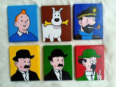 Hand Painted Set of 6 Tintin Snowy Haddock Thomson & Thompson Caculus Art Deco