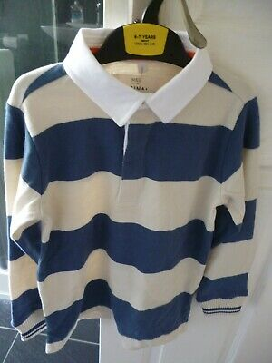 Boys Marks & Spencer Striped Rugby Top Aged 6-7 Years. **BNWT**