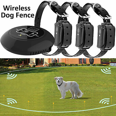 3 In 1 Wireless Electric Dog Pet Fence Containment System Transmitter Collar 100