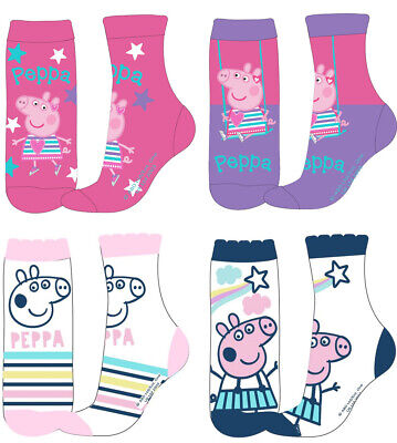 Girls Peppa Pig Socks Ankle Socks - Pack Of 4