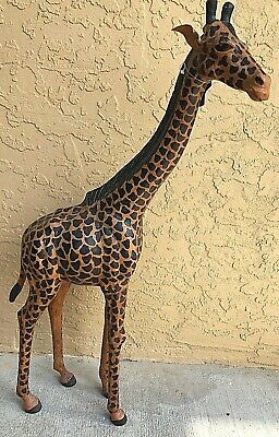 Vintage Large 28'' Real Leather Giraffe Figure Statue Home Decoration Ornament