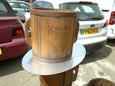 Antique Late 19Th Century Japanese Wood Rice Bucket Measure, Signed By Maker
