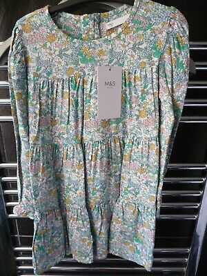 Girls M&S Floral Tiered  Dress  Age 5-6 Years   Bnwt  Marks And Spencer