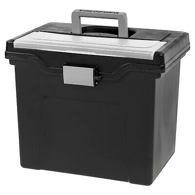 IRIS USA Portable Letter Size Hanging File Storage Box with Organizer Lid