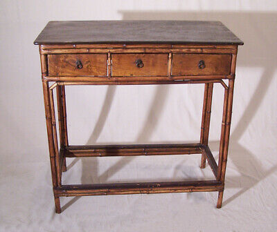 Antique Chinese Export bamboo three drawer server sideboard cabinet c 1830-50