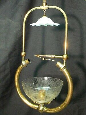 Antique gas light fixture converted to Electric With SHADEs And Smoke Bell