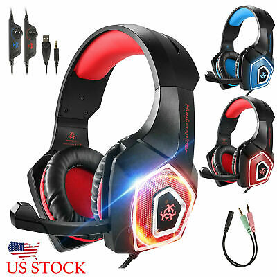 Pro 3.5mm Gaming Headset LED MIC Headphones for PC Laptop PS4 Pro Xbox One