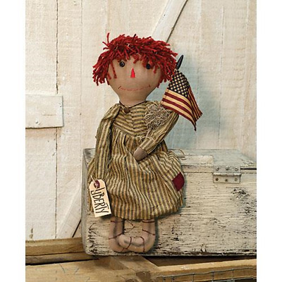 New Primitive Folk Art Tea Stained Americana LIBERTY ANNIE FLAG Raggedy Doll