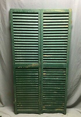 Pair Vtg House Window Wood Louvered Shutters 17X66 Shabby Old Chic Green 485-20B