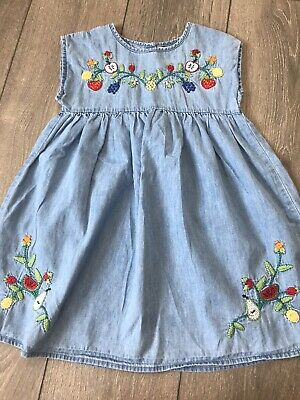 Girls Next Gorgeous Embroidered Summer Cotton Dress Age 4-5 Years