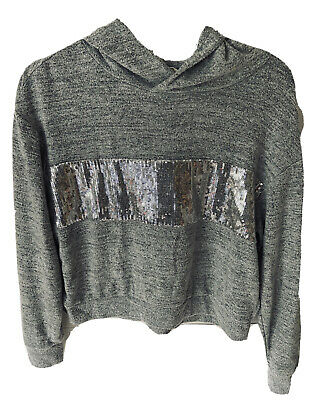 GAP Womens SEQUINS HOODIE Fleece Gray Sweatshirt Soft Comfy Poly-Spandex Small