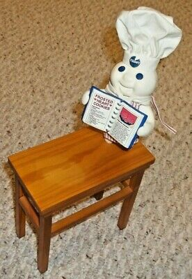 2002 Pillsbury Doughboy On Wood Table Stand - FREE SHIPPING -