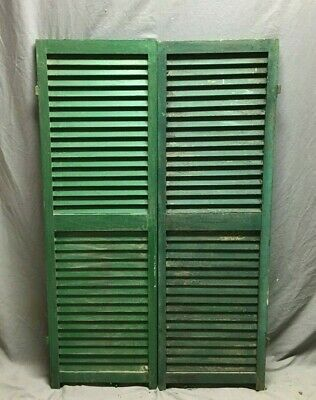 Pair Vtg House Window Wood Louvered Shutters 17X54 Shabby Old Chic Green 488-20B
